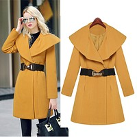 Lapel Collar Slim Long Wool Coat