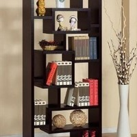 Enitial Lab 26001 Bradshaw Unique Bookcase-Display Cabinet in Red Cocoa- Red Cocoa