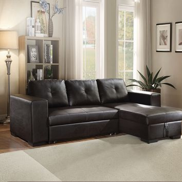 Acme 53345 2 pc Lloyd black faux leather tufted back sectional sofa set