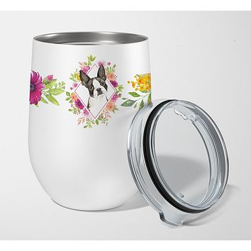 Boston Terrier Pink Flowers Stainless Steel 12 oz Stemless Wine Glass CK4257TBL12
