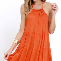 Such a Tease Coral Orange Halter Dress