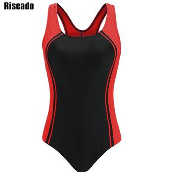 Riseado 2018 One Piece Swimsuit Professional Swimwear Women Competition Swim Wear Patchwork Bathing Suits Summer Beach