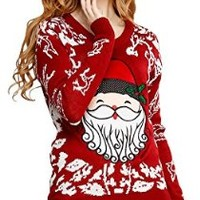 Ugly Christmas sweater, V28 Women Girls ladies Reindeer Fun Cute Knit Sweater ... (M, Red)