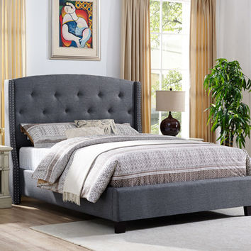 Eva grey colored fabric upholstered button tufted headboard queen bed