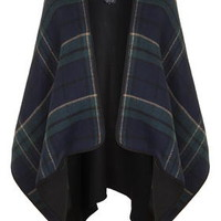 Reversible Check Cape - Navy Blue