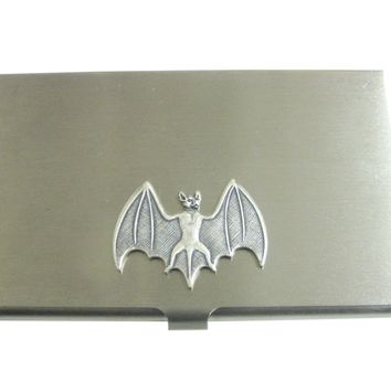 Silver Toned Bat Pendant Business Card Holder