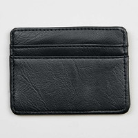 Black Faux Leather Card Holder - Men's Wallets - Shoes and Accessories
