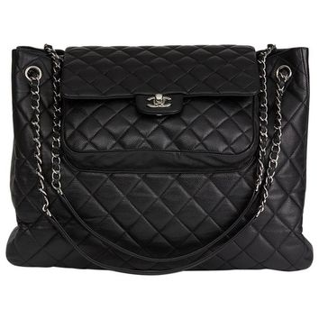 2014 Chanel Black Caviar Leather Classic Flap Shopping Tote