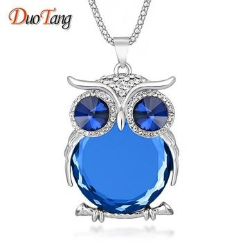 DuoTang High Quality Vintage Necklaces Zinc Alloy Crystal Jewelry Owl Necklace Pendant Long Popcorn Chain Necklace For Women