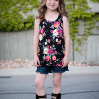 Girls Colorful Floral Razorback Tank- Black