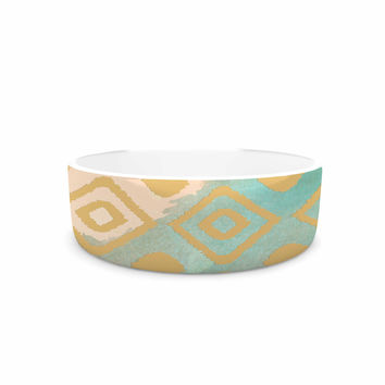 "Nika Martinez ""Watercolor Ikat"" Teal Gold Pet Bowl"