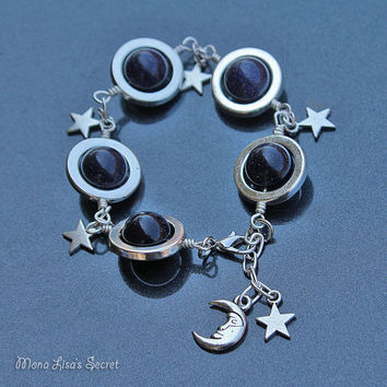 Blue Goldstone Galaxy Bracelet, Planets Stars and Moon Bracelet, Celestial Dark Blue Bracelet, Blue Goldstone Jewelry, Mother's Day Gift