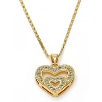 Gold Layered Fancy Necklace, Heart Design, with Micro Pave, Golden Tone