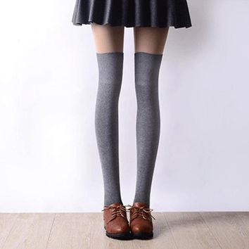 2017 New Black And Gray Striped Over The Mixed Analog Nylon Tights Thigh High Stockings Sexy Fmale Imitation Stockings Tights