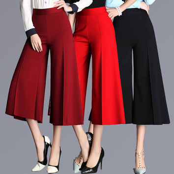 2016 new high waist loose summer wide leg pants ankle length-Plus size Available