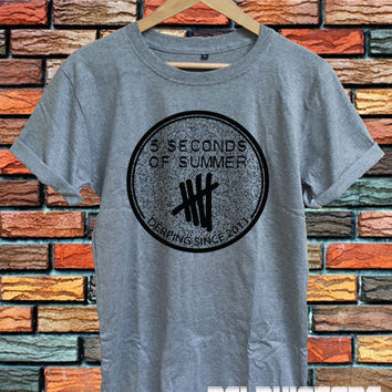 5sos shirt 5 seconds of summer t-shirt sport grey printed unisex size  (DL-53)