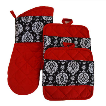 Pot Holders with Oven Mitt Baking Gift Cooking Christmas Gift Gift for Her Kitchen Accessory Hostess Gift Kitchen Decor Birthday Red
