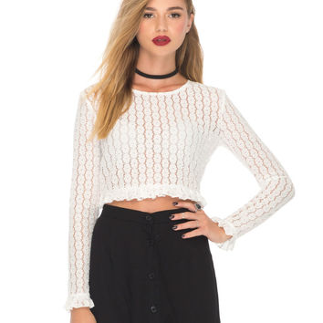 Knox Long Sleeve Top in Flower Chain Lace White by Motel