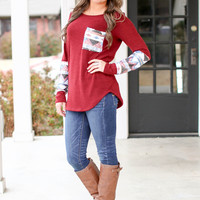 Sequin Aztec Sweater - Maroon