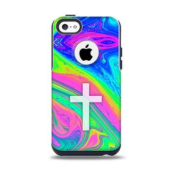 The Vector White Cross v2 over Neon Color Fushion V3 copy Apple iPhone 5c Otterbox Commuter Case Skin Set