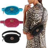 """Gucci"" Women Fashion Velvet Letter Logo Waist Bag Chest Bag Mini Small Round Bag"