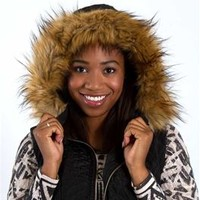 Coalition Quilted Fur Trim Vest with Hood for Women in Black DCJ031B