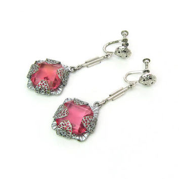 Art Deco Earrings. Rose Pink Czech Glass Jewels.  Antique Silver Plate filigree. Dangles, Screw Backs. Vintage 1930s Fashion Jewelry