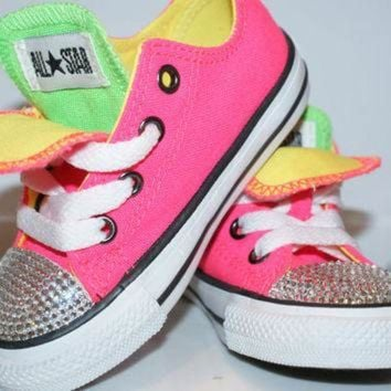 MDIGUG7 All Star Converse Bling Swarovski Shoes. Baby Girl/Boy Childrens. Sneakers Made with l