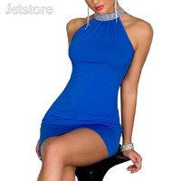 Women Halter Bare shoulder Blue/Purple dress Mini Dresses Night Club Nightclub Clubwear Dress 8865