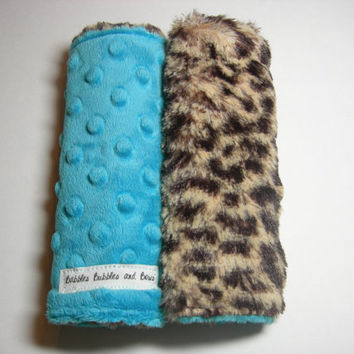 Car Seat Strap Covers -Cheetah & Turquoise Double Minky Reversible