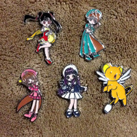 LOT OF 5 Cardcaptor Sakura Hat Pin Set - Handmade, Repurposed From Charms