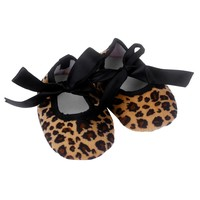 Baby Shoes Bowknot Leopard Printing Cloth