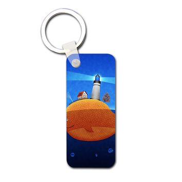 Lighthouse At The Whale Back Hardboard Rectangle Keychain - Hardboard Rectangle Keychain
