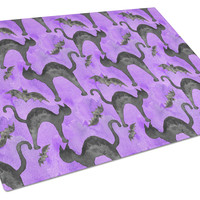 Watecolor Halloween Black Cats on Purple Glass Cutting Board Large BB7528LCB