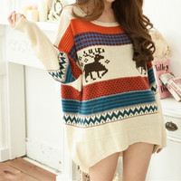 Casual Pattern Print Loose Knit Sweater Pullover