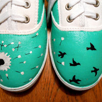 Hand Painted Dandelion into Birds Canvas Shoes