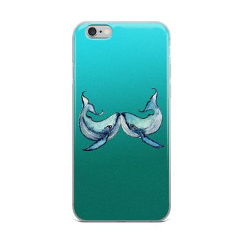 Blue Whales Kissing iPhone Case