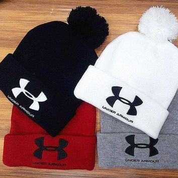 VONEF3L Under Armour Woman Men Fashion Embroidery Beanies Winter Knit Hat Cap