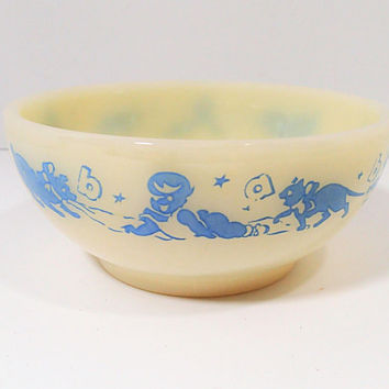 Vintage Fire King Baby Bowl, Boy baby bowl, babies, kittens puppies, Ivory milk glass