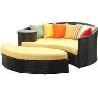 Amazon.com: LexMod Taiji Outdoor Rattan Daybed with Ottoman, Brown with Orange Cushions: Patio, Lawn & Garden