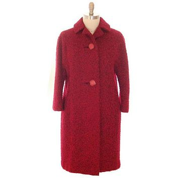 Vintage Red/ Black Mohair Boucle Sack Coat 1950s Medium