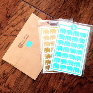 28 Elephant Stickers - Envelope Seals - Wedding Invitations and Favors - Scrapbooking - Wall safe vinyl decal - DIY - Removable Stickers