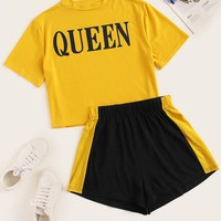 Plus Size Size Queen Letter Print Tee With Shorts