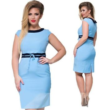 edith retro plus size dress women clothing mini casual office bodycon pastel pink blue green