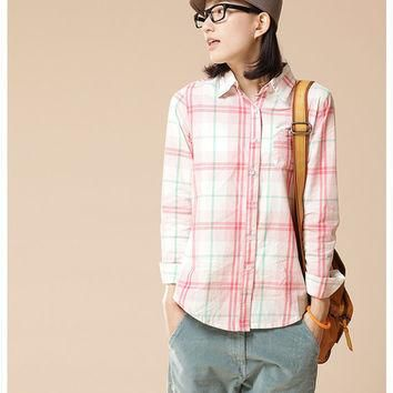 autumn check long sleeve polo collar shirt for women