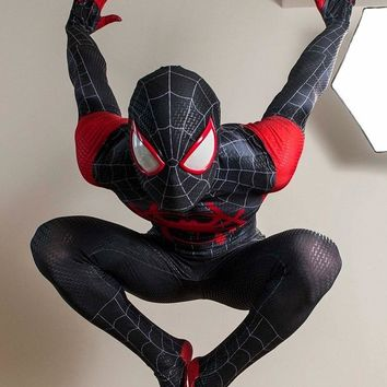 Miles Morales Spider-Man Costume Miles Animated Version Cosplay Spiderman Superhero Costume Halloween Zentai Suit For Adult/Kids