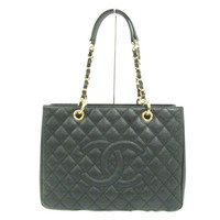 CHANEL CC square Chain Tote Bag Shoulderbag Caviar skin leather Black