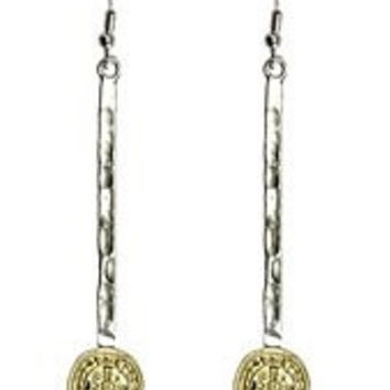 Womens Jewelry, Catholic St. Benedict Earrings, Benito Charm, Silver and Gold Tone Hammered Metal Dangle Earrings. Cross Dangle/drop Benito Charm Silver and Gold Tone Hammered Metal Dangle Earrings - Materials: Metal - Length: 2.5 Inch