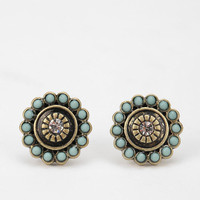 Beaded Disk Post Earring