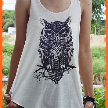 Bird Tank top : White T-Shirt , lady T-Shirt , Women T-Shirt , vest,screen shirt,cotton,tanks,vests,tunic size m